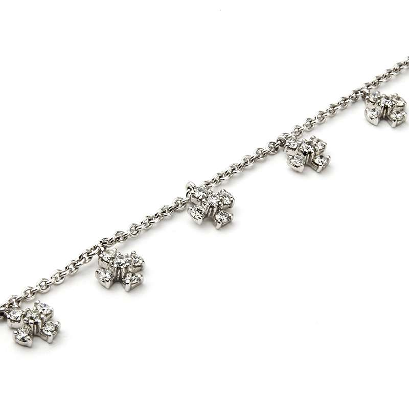 18k White Gold Round Brilliant Cut Diamond Set Bracelet 1.28ct G/VS
